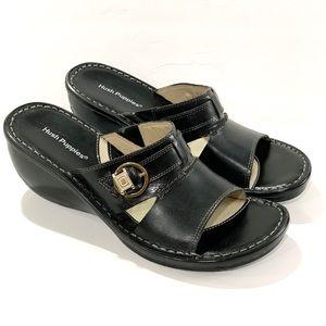 Hush poppies Ariel 7 black leather slide sandals